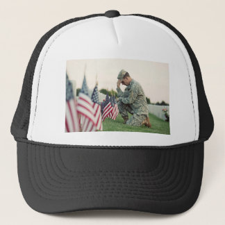 Soldier Visits Graves On Memorial Day Trucker Hat