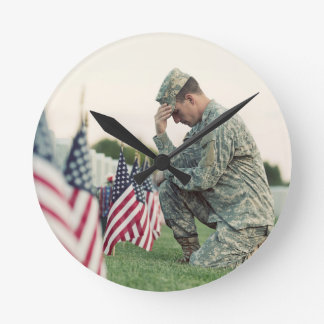 Soldier Visits Graves On Memorial Day Wall Clocks