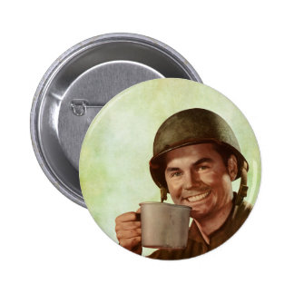 Soldier With Coffee Vintage 2 Inch Round Button