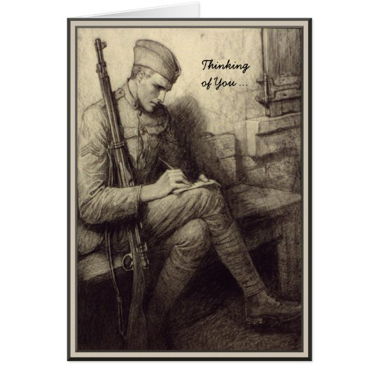 Soldier Writing a Letter Military Thinking of You Card