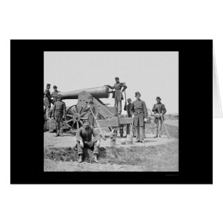 Soldiers and 24 Pounder Siege Gun Ft Corcoran 1864 Card