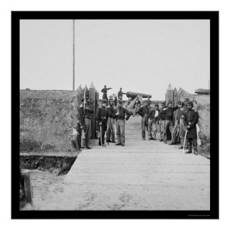 Soldiers at the Gate of Fort Slemmer 1865 Poster