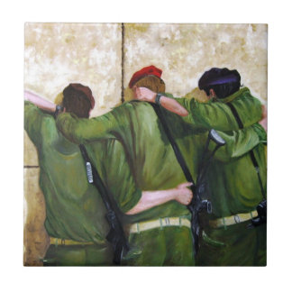 Soldiers at the wailing wall in jerusalem tile