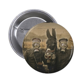 Soldiers Donkey and Gas Masks 2 Inch Round Button
