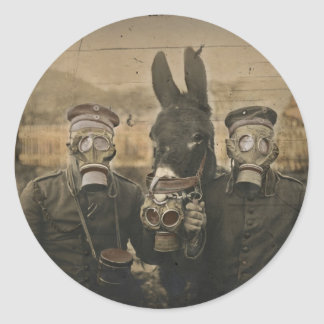 Soldiers Donkey and Gas Masks Classic Round Sticker