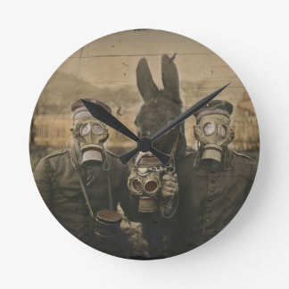 Soldiers Donkey and Gas Masks Wallclocks