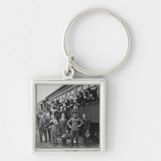 Soldiers Headed to Camp Upton During World War I Silver-Colored Square Keychain