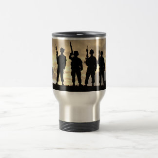 Soldiers in Silhouette Courageous Military Stainless Steel Travel Mug
