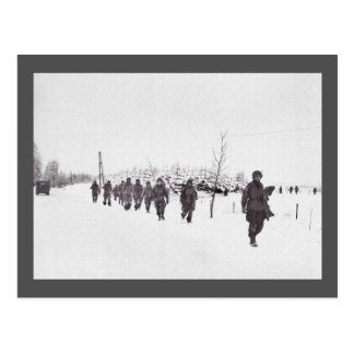 Soldiers Marching in Snow Postcard