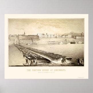 Soldiers on a Cincinnati Pontoon Bridge 1864 Poster