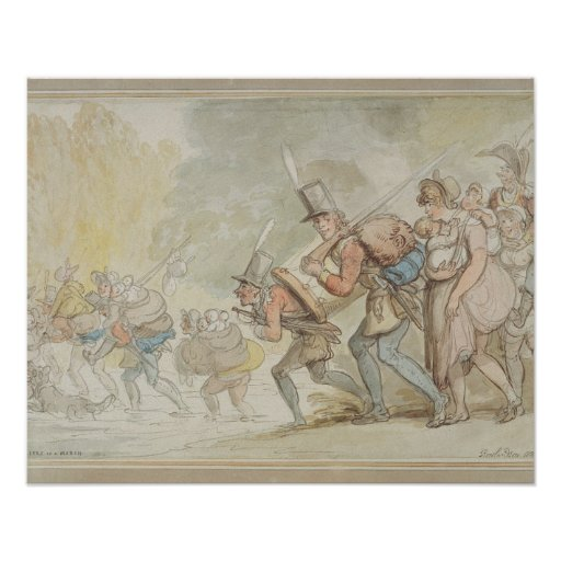 Soldiers on a March, 1805 (pen & ink and watercolo Posters