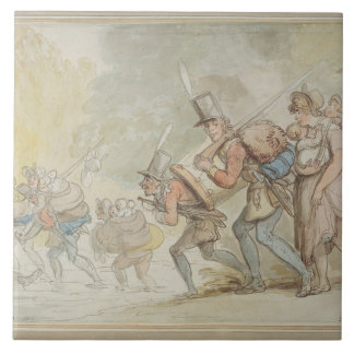 Soldiers on a March, 1805 (pen & ink and watercolo Tile