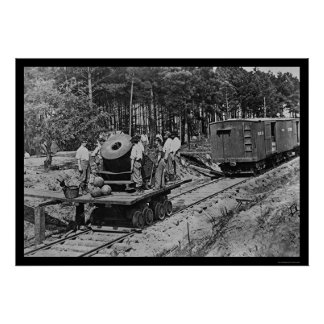 Soldiers with a Cannon on a Railroad Car 1864 Poster