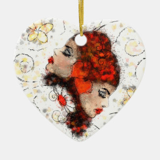 Solemissia - the real flower ceramic heart ornament