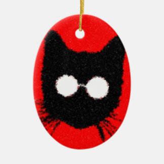 Solemn Hipster Cat with Glasses Silhouette Ceramic Oval Ornament