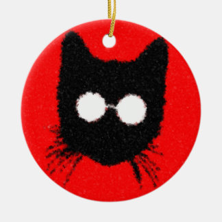 Solemn Hipster Cat with Glasses Silhouette Round Ceramic Ornament