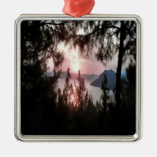 Solemn Sunset Silver-Colored Square Ornament