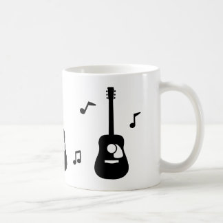 Solid Black Acoustic Guitar and Music Notes Coffee Mug