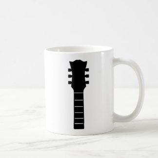 Solid Black Acoustic Headstock Guitar Music Coffee Mug