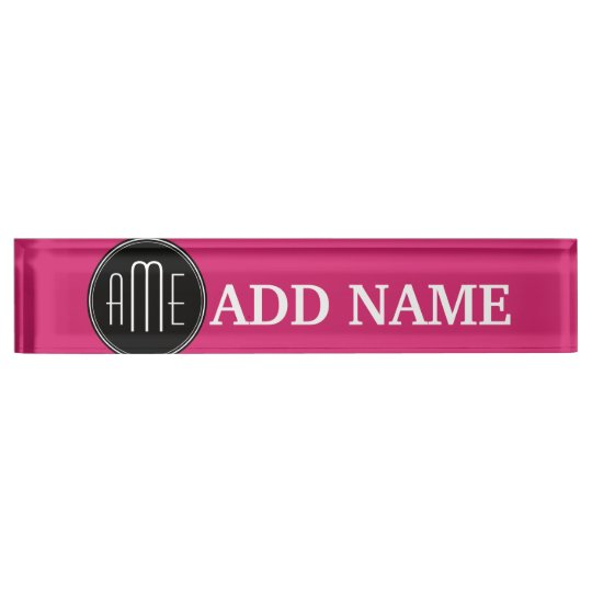 Solid Black and Hot Pink with Monogram Desk Nameplates