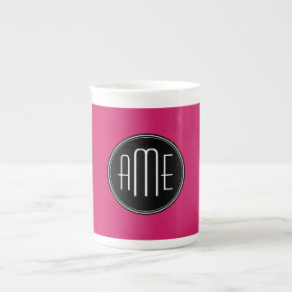 Solid Black and Hot Pink with Monogram Tea Cup