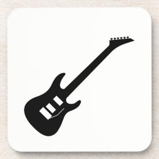 Solid Black Electric Guitar Beverage Coasters