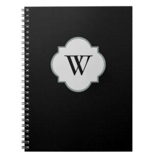 Solid Black Monogram template Notebooks