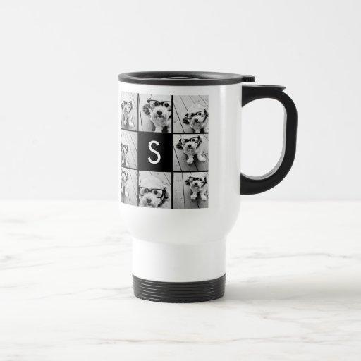 Solid Black Photo Collage Custom Monogram Coffee Mugs