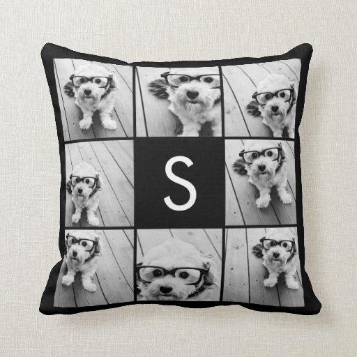 Solid Black Photo Collage Custom Monogram Pillow
