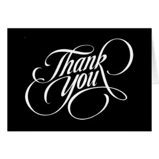 SOLID BLACK THANK YOU CARD BEALEADER