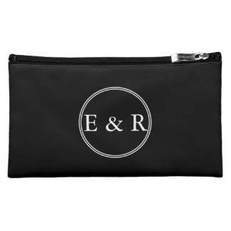 Solid Black with White Wedding Detail Cosmetic Bags
