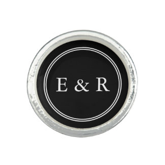 Solid Black with White Wedding Detail Photo Rings