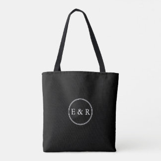 Solid Black with White Wedding Detail Tote Bag