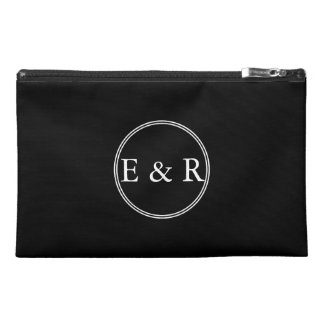 Solid Black with White Wedding Detail Travel Accessory Bags