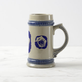 Solid Blue and White posterized rose bloom Coffee Mugs