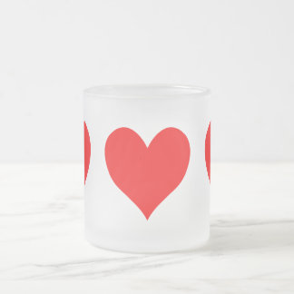 Solid Bright Red Cute Heart Frosted Glass Coffee Mug