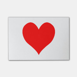 Solid Bright Red Cute Heart Post-it Notes