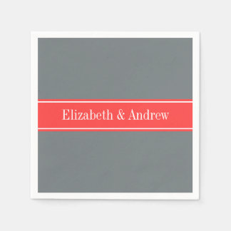 Solid Charcoal Gray Coral Red Ribbon Name Monogram Disposable Napkin