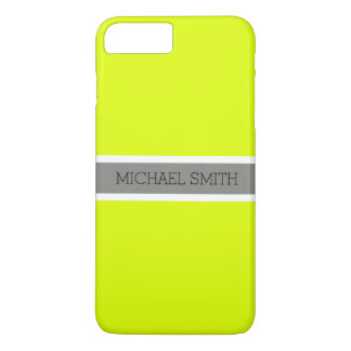 Solid Chartreuse Modern Gray Ribbon Elegant Name iPhone 8 Plus/7 Plus Case