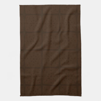 Solid Chocolate Brown Tone on Tone Grid Kitchen Towel