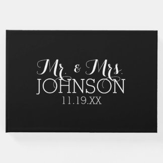 Solid Color Black Mr & Mrs Wedding Favors Guest Book