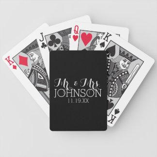 Solid Color Black Mr & Mrs Wedding Favors Poker Deck