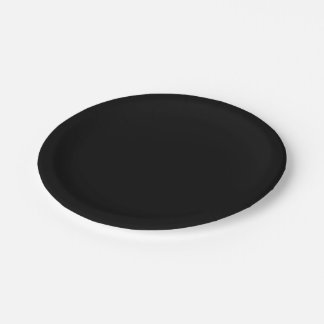 Solid Color: Black Paper Plate