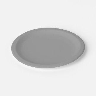 Solid Color: Dark Grey 7 Inch Paper Plate