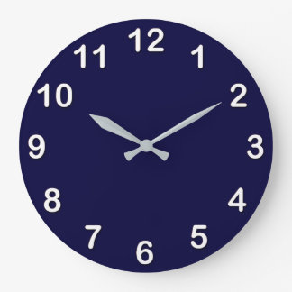 Solid Color: Navy Blue Large Clock