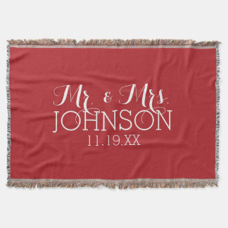 Solid Color Red - Mr & Mrs Wedding Favors Throw Blanket