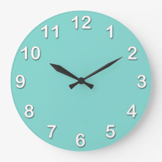 Solid Color: Turquoise Aqua Large Clock