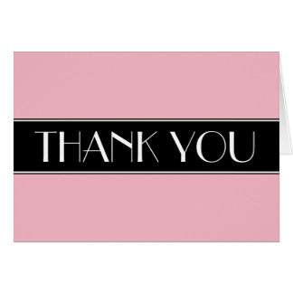 Solid Colour Background Black and White Thank You Card
