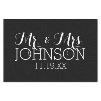 Solid Colour Black Mr & Mrs Wedding Favours Tissue Paper