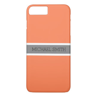 Solid Coral Modern Gray Ribbon Elegant Name Case-Mate iPhone Case